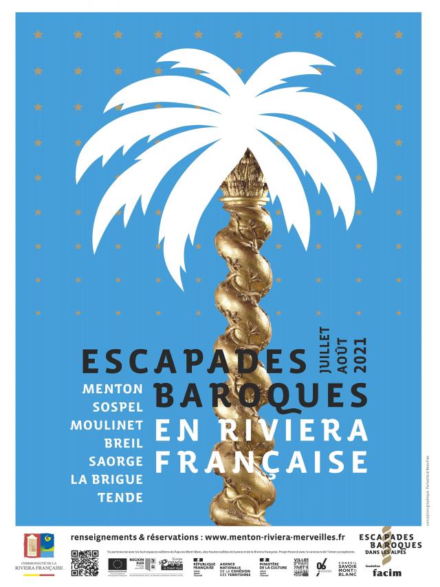 Affiche des Escapades Baroques en Riviera Française - juillet et août 2021